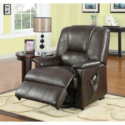 Reseda Recliner with Power Lift & Massage in Brown PU - 10652