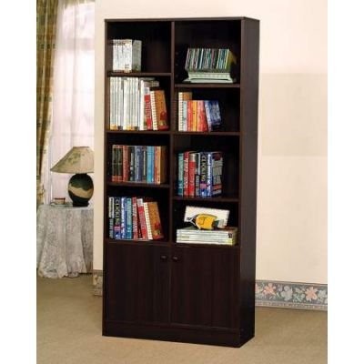 Verden Bookcase with 2 Doors in Espresso - 12102