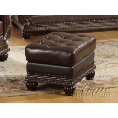 Anondale Cherry Bonded Leather Ottoman - 15034