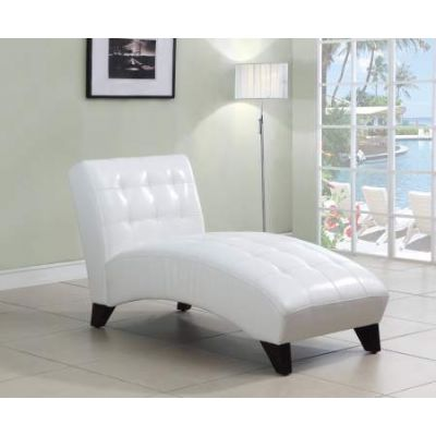 Anna Lounge Chaise in White PU - 15037
