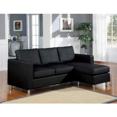Kemen Sectional Sofa (Reversible Chaise) in Black PU - 15065