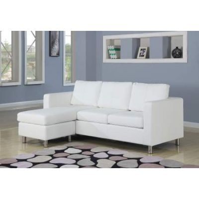 Kemen Sectional Sofa (Reversible Chaise) in White PU - 15068