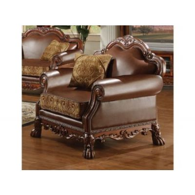 Dresden Brown PU Leather Aaron's Chair With 2 Pillows - 15162
