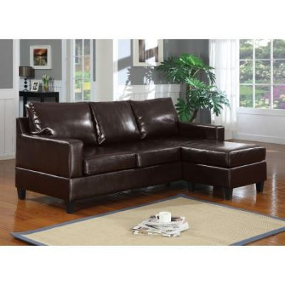 Vogue Espresso PU Reversible Sectional Sofa Chaise - 15913