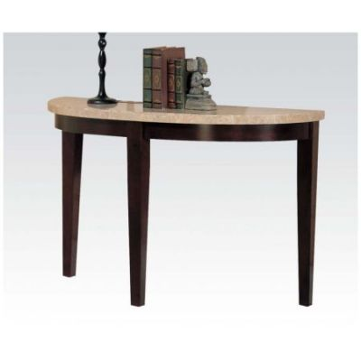 Britney Sofa Table in White Marble and Walnut - 17144B