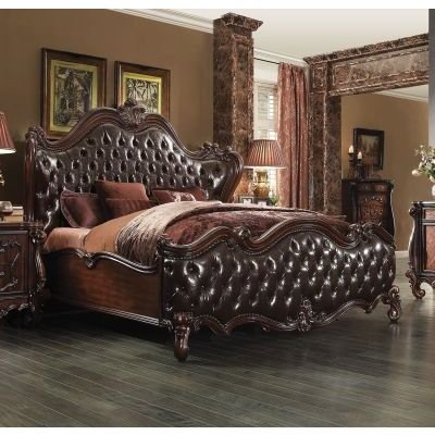 Versailles Dark Brown PU Cherry Oak Queen Sleigh Bed - 001055_Kit