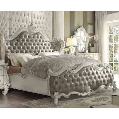 Versailles Vintage Gray Bone White Queen Sleigh Bed - 001061_Kit