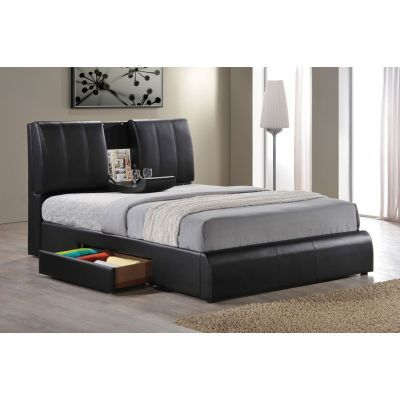 Kofi King Bed in Black PU - 001184_Kit