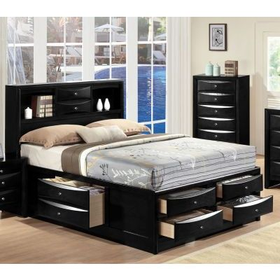 Ireland Black King Storage Bed with Bookcase Drawers - 001189_Kit