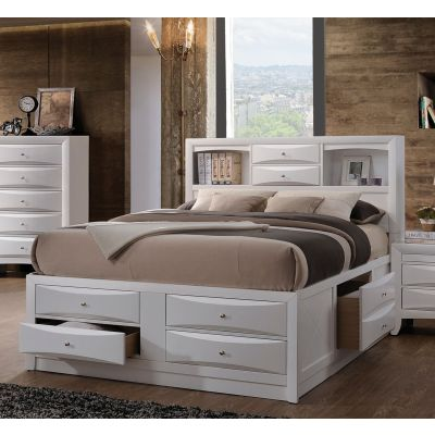 Ireland White King Storage Bed with Bookcase Drawers - 001192_Kit