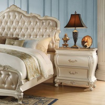 Chantelle Nightstand with Granite Top in Pearl White - 23543