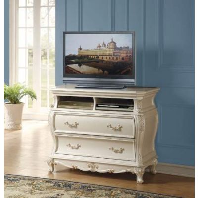 Chantelle TV Console in Pearl White - 23547