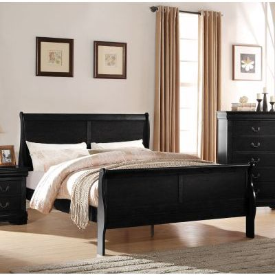 Louis Philippe Black King Sleigh Bed - 000847_kit