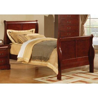 Louis Philippe Cherry Twin Sleigh Bed - 000855_Kit