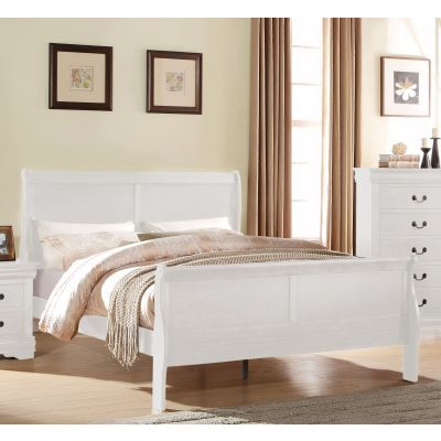 Louis Philippe King Sleigh Bed in White - 000857_Kit