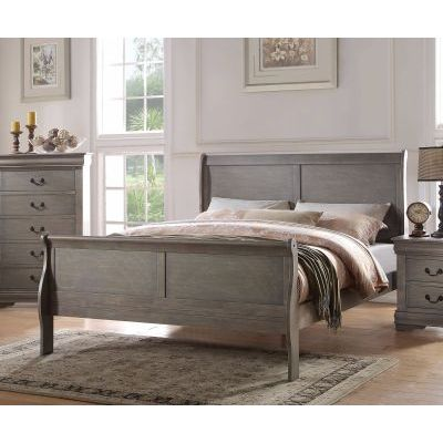 Louis Philippe Gray Queen Sleigh Bed - 000863_Kit