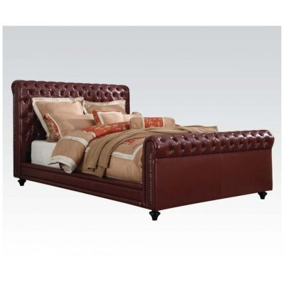 Norris Burgundy PU Leather King Sleigh Bed - 001125_Kit