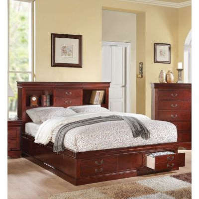 Louis Philippe Cherry King Storage Bed with Bookcase - 001130_Kit
