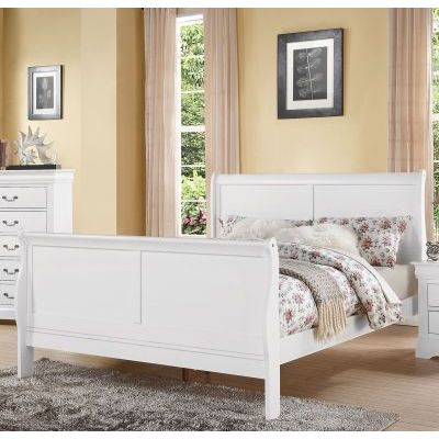 Louis Philippe White King Sleigh Bed - 000871_Kit