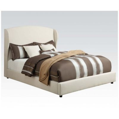 Caroline White Linen Eastern King Platform Bed - 000877_Kit