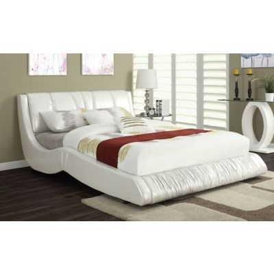 Nathan White Bycast PU Leather King Platform Bed - 000879_Kit