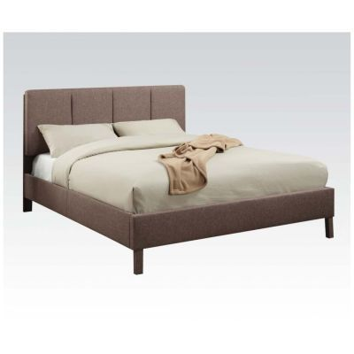 Light Brown Linen Queen Platform Bed - 000892_Kit