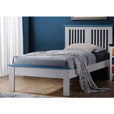 Brooklet White Blue Twin Platform Bed - 000939_Kit