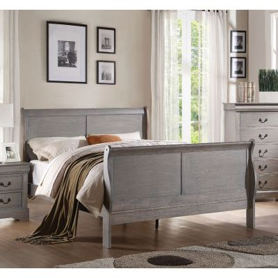 Louis Philippe Antique Gray Queen Sleigh Bed - 000942_Kit