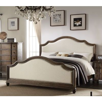 Baudouin Upholstered California King Bed in Weathered Oak - 000618_kit
