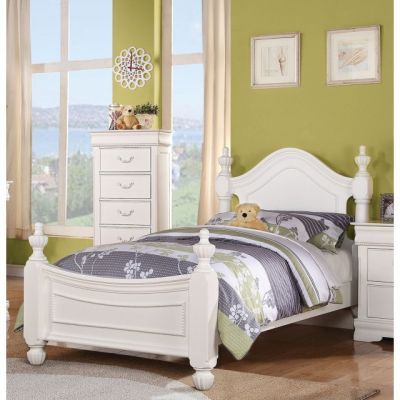 Classique White Youth Twin Poster Bed - 000621_kit