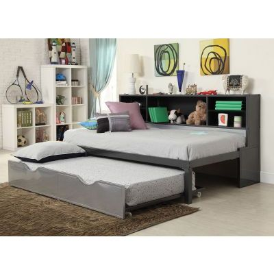 Renell Twin Bed with Bookcase & Trundle in Black & Silver - 37225T