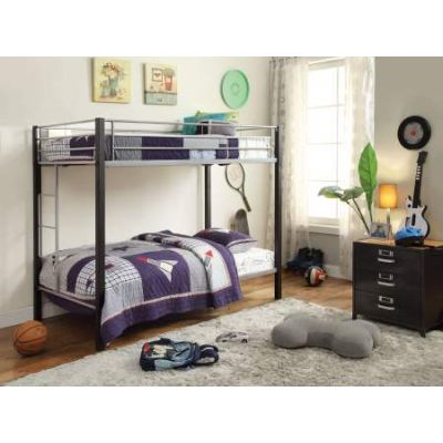 Mirella Twin/Twin Bunk Bed in Silver & Brown Coffee - 37240