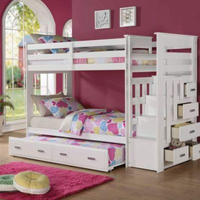 Twin over Twin Bunk Bed with Storage Ladder & Trundle - 001200_Kit