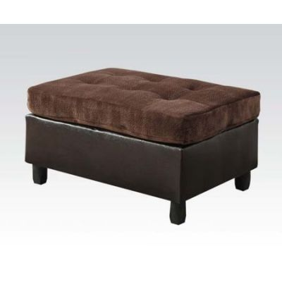Cleavon Ottoman in Chocolate Champion & Espresso PU - 51668