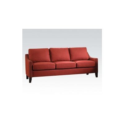 Zapata Aaron's Sofa with Red Linen Finish - 52490