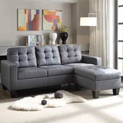Earsom Sectional Sofa with Gray Linen Finish - 52775