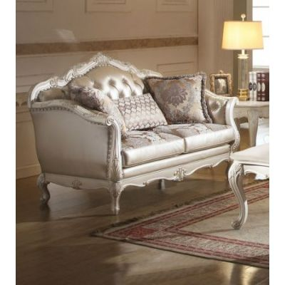 Chantelle Loveseat with 3 Pillows in Rose Gold & Pearl White - 53541