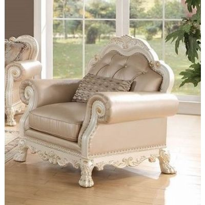 Chantelle Chair with 1 Pillow in Rose Gold & Pearl White - 53542