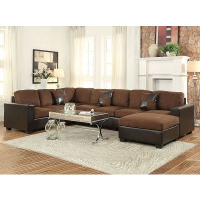 Dannis Chocolate Microfiber Reversible Sectional Sofa - 000587_kit