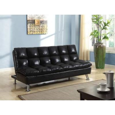 Tayte Adjustable Sofa Black Polished Microfiber - 57120