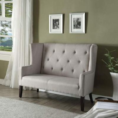 Najia Settee with Beige Fabric & Espresso Finish - 57255
