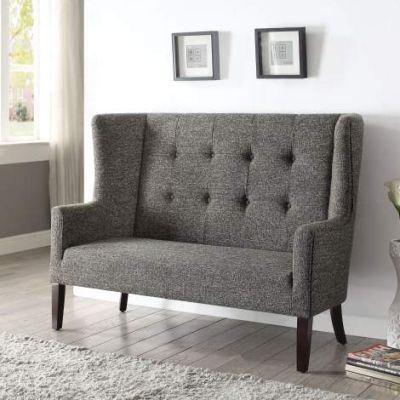 Paloma Settee with Gray Fabric & Espresso Finish - 57257