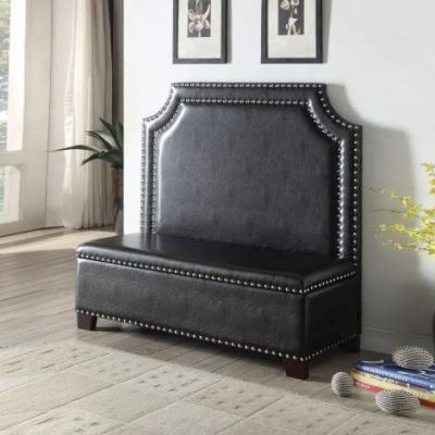 Fadey Settee with Storage in Espresso PU - 000457_kit