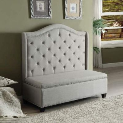 Fairly Settee with Storage in Beige Fabric and Espresso - 000458_kit