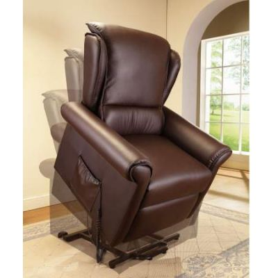 Emari Recliner with Power Lift & Massage in Dark Brown PU - 59169
