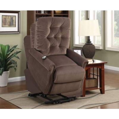 Zody Recliner with Power Lift in Chocolate Velvet - 59241