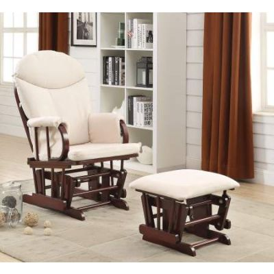 Raul 2 Piece Glider Chair & Ottoman in Beige Mfb & Cherry - 59330