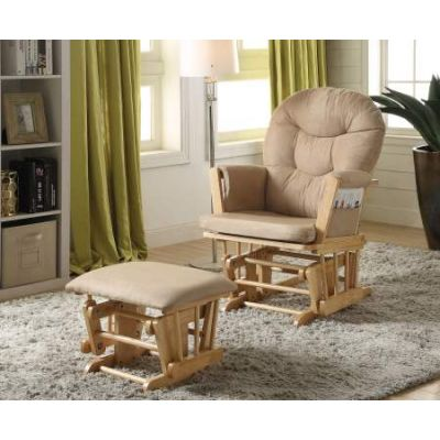 Rehan 2 Piece Glider Chair & Ottoman in Taupe & Natural Oak - 59332