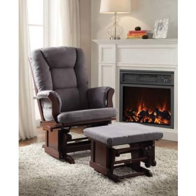 Aeron 2 Piece Glider Chair & Ottoman in Gray Mfb & Cherry - 59338