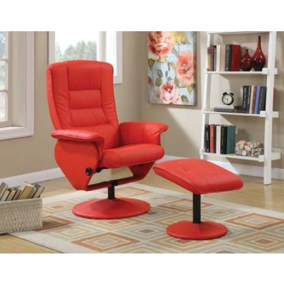 Arche 2 Piece Recliner Chair & Ottoman in Red PU - 59364